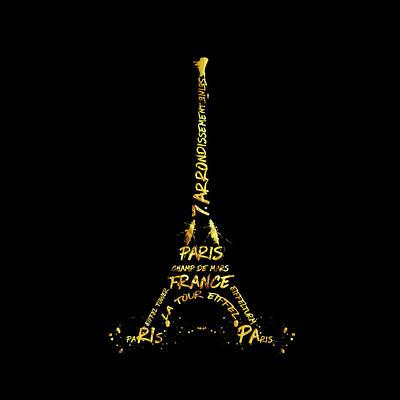 Digital-art Eiffel Tower - Black And Golden Poster by Melanie Viola