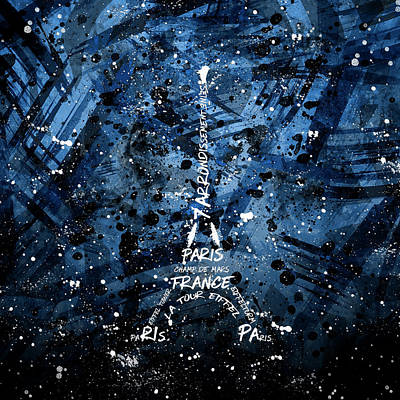 Digital Art Eiffel Tower - Blue Poster