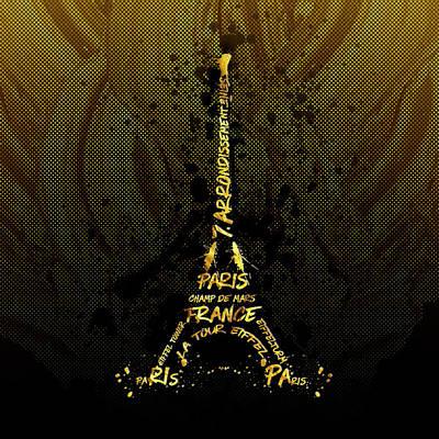 Digital-art Eiffel Tower - Golden Flames Poster