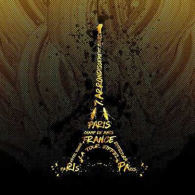 Digital-art Eiffel Tower - Golden Flames Poster by Melanie Viola