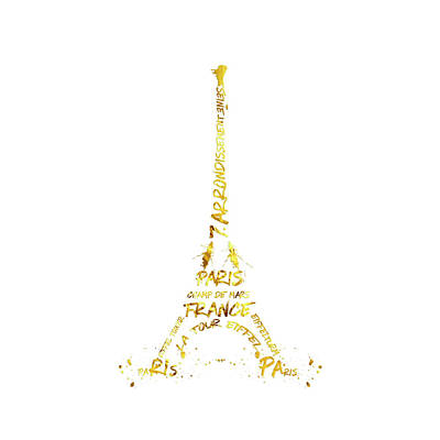 Digital-art Eiffel Tower - White And Golden Poster by Melanie Viola