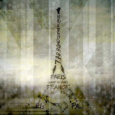 Digital-art Paris Eiffel Tower Geometric Mix No.1 Poster