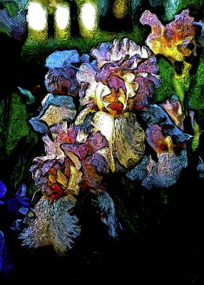 Digital Expressionist Painting Pale Pink Irises 6702 W_4 Poster