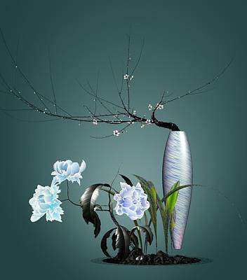 Digital Flower Arrangement 0204 Poster by GuoJun Pan