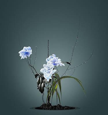 Digital Flower Arrangement Poster by GuoJun Pan