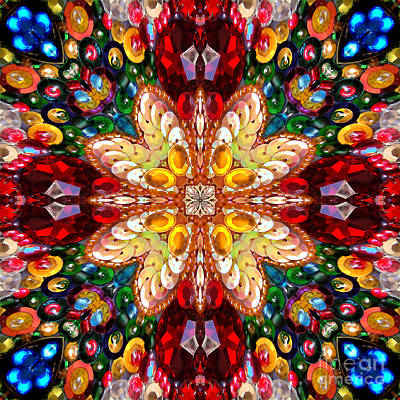 Digital Kaleidoscope - Rhinestone Mosaic A4 Poster by Sofia Metal Queen