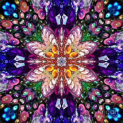 Digital Kaleidoscope -rhinestone Mosaic - Wow Poster by Sofia Metal Queen
