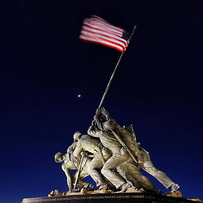 Digital Liquid - Iwo Jima Memorial At Dusk Poster by Metro DC Photography