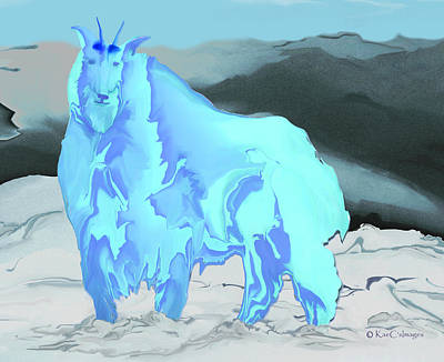 Poster featuring the digital art Digital Mountain Goat 2 by Kae Cheatham