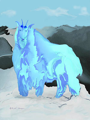 Poster featuring the digital art Digital Mountain Goat by Kae Cheatham