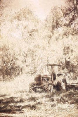 Digitally Drawn Vintage Farm Yard Tractor  Poster