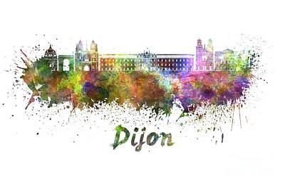 Dijon Skyline In Watercolor Poster by Pablo Romero