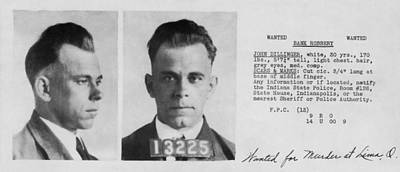 John Dillinger Wanted File Document  C. 1933 Poster by Daniel Hagerman