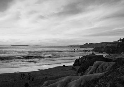 Dillon Beach Sunset Black And White Poster