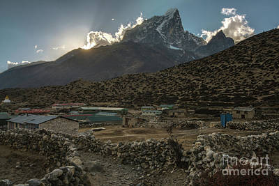 Poster featuring the photograph Dingboche Evening Sunrays by Mike Reid