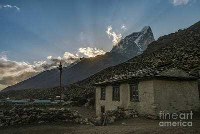 Poster featuring the photograph Dingboche Nepal Sunrays by Mike Reid
