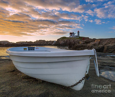Dinghy At Nubble Lighthouse Poster by Jerry Fornarotto