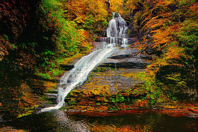 Dingmans Falls In Autumn 1 Poster by Raymond Salani III