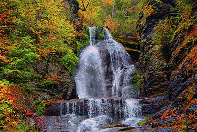 Dingmans Falls In Autumn 2 Poster by Raymond Salani III