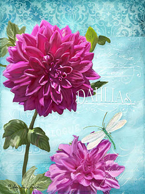 Dinnerplate Dahlia Flower W Dragonfly Poster by Audrey Jeanne Roberts