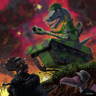 Poster featuring the painting Dinosaur War 01 by Martin Davey