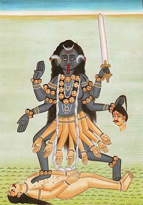 Dios Hindu Kali Mata  Pintura En Miniatura De La Pintura En Miniatura Poster