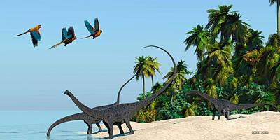 Diplodocus Drinking Poster