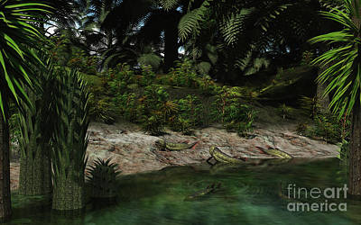 Dipterus Fish Emerge From A Devonian Poster by Walter Myers