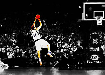Dirk Nowitzki Fade Away Jumper Poster by Brian Reaves
