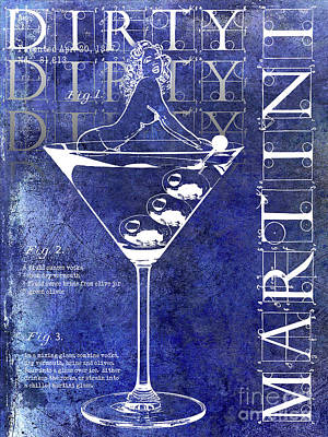 Dirty Dirty Martini Patent Blue Poster