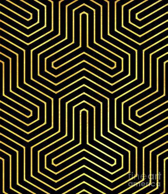 Disco Days Black, Gold Modern Geometric Op Art Poster by Tina Lavoie