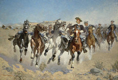 Dismounted The Fourth Troopers Moving The Led Horses Poster by Frederic Remington