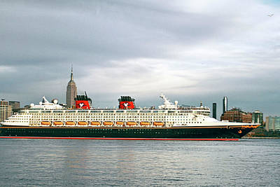 Disney Cruise Ship Leaving Ny Harbor Poster by Geraldine Scull