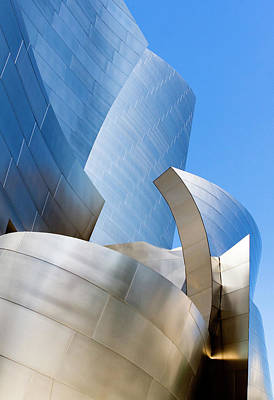 Poster featuring the photograph Disney Hall In Blue And Silver by Lorraine Devon Wilke