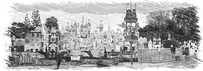 Disneyland Small World Panorama Pa Bw Poster by Thomas Woolworth