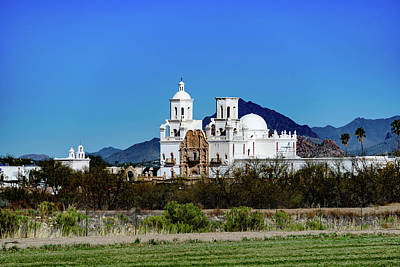 Distant View - San Xavier Mission - Tucson Arizona Poster by Jon Berghoff