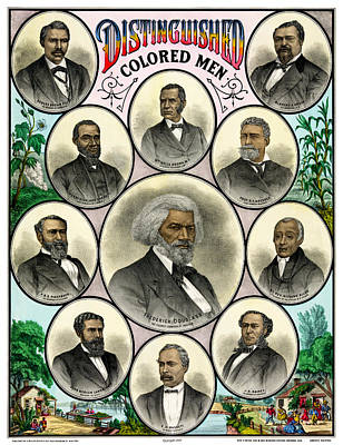 Distinguished African American Men Antique Print 1883 Poster