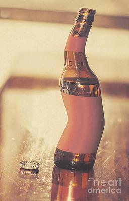 Distorted Beer Bottle Doing A Warped Dance Poster