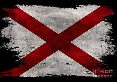 Distressed Alabama Flag On Black Poster