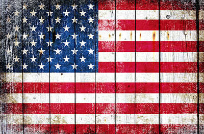 Distressed American Flag On Wood Planks - Horizontal Poster