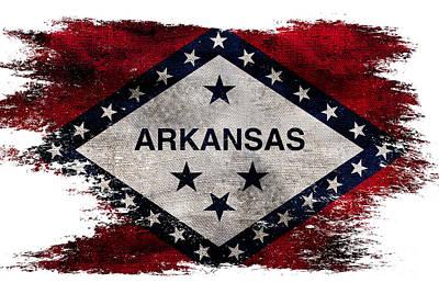 Distressed Arkansas Flag Poster by Jon Neidert