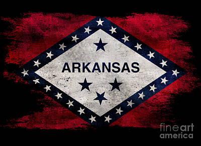 Distressed Arkansas Flag On Black Poster by Jon Neidert