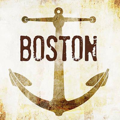 Distressed Boston Anchor Poster by Brandi Fitzgerald