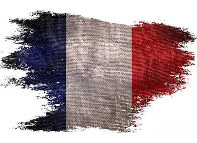 Distressed French Flag On White Poster by Jon Neidert