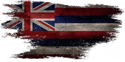 Distressed Hawaii Flag Poster