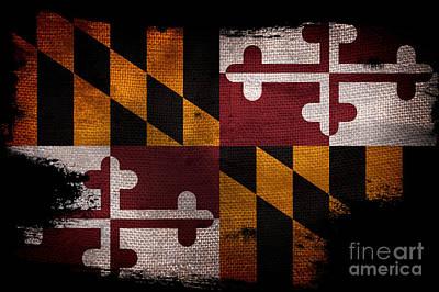 Distressed Maryland Flag On Black Poster by Jon Neidert