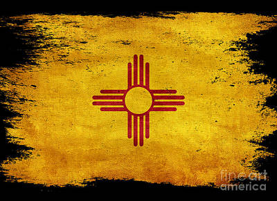 Distressed New Mexico Flag On Black Poster