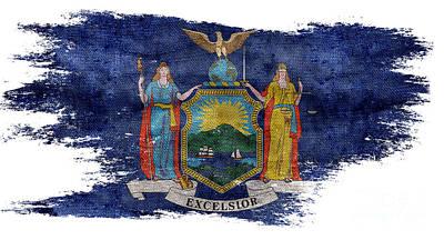 Distressed New York Flag Poster by Jon Neidert