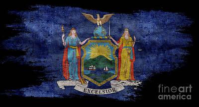Distressed New York Flag On Black Poster by Jon Neidert