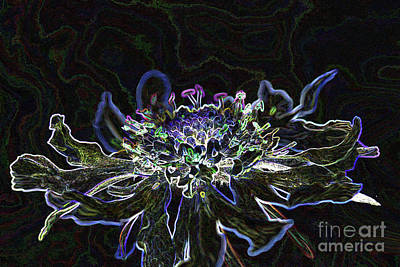 Ditigal Abstract Art Glowing Flower Poster